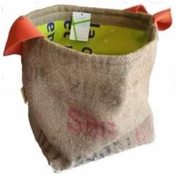 Panier en sac de jute recyclé